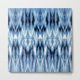 Blue Satin Shibori Argyle Metal Print