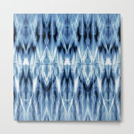 Blue Satin Shibori Argyle Metal Print