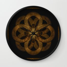 Golden Iron Ornate Mystical Symbol Artwork Wall Clock