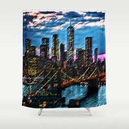 Lower Manhattan and Brooklyn Bridge Landscape Painting by Jeanpaul Ferro Shower Curtain