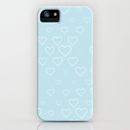 white hears with blue background iPhone Case
