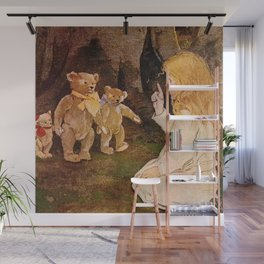 """""""Goldilocks and the Bears"""" by Jessie Willcox Smith Wall Mural"""