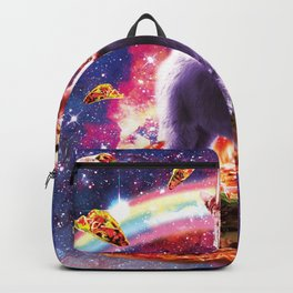 Laser Eyes Outer Space Cat Riding On Llama Unicorn Backpack