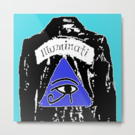 illuminati pop art print blue background Metal Print