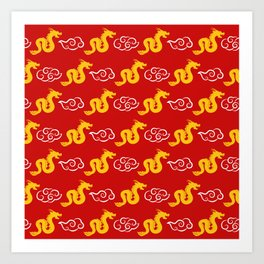 Chinese red gold 3 Art Print