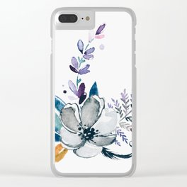 Watercolor water flower Clear iPhone Case