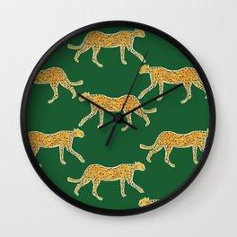 Tropical Animal Print Green Cheetah Illustration Wall Clock