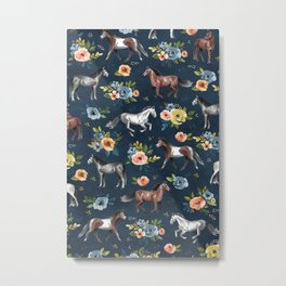 Wild Horses, Horse and Floral Print, Navy Blue, Watercolor Painting, Illustrated Horses, Flowers,  Metal Print