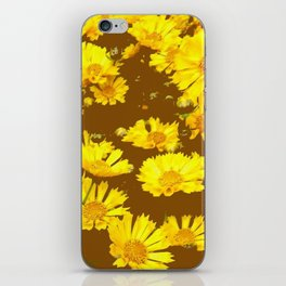COFFEE BROWN & YELLOW COREOPSIS  FLORAL ART DESIGN iPhone Skin