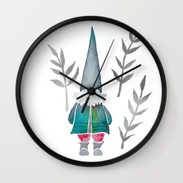 Winter Gnome - Silver Leaves Wall Clock