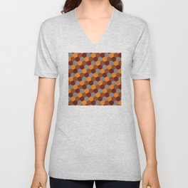 Browns Hues Geometric Marquetry Pattern Unisex V-Neck