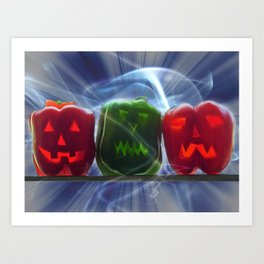 Jack O Lantern Bell Peppers Art Print