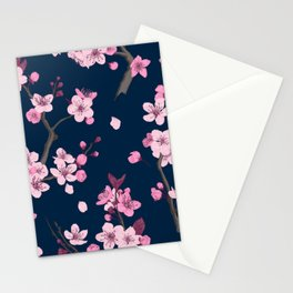 Watercolor Sakura Cherry blossoming. Japanese traditional hand painted illustration pattern on dark background Stationery Cards