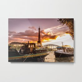 Tour Eiffel and Boats Metal Print