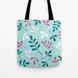 Assorted Leaf Silhouettes Teals Pink White Tote Bag