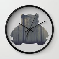 snorlax Wall Clocks featuring Sleepy Snorlax by anthonykun