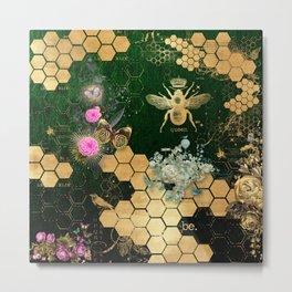 French chic, victorian,bee,floral,gold foil, belle epoque,art nouveau, green foil, elegant chic coll Metal Print