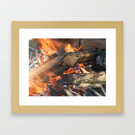 Natural fire burns firewood Framed Art Print