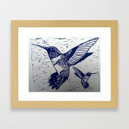 Blue Ink Hummingbirds Print Framed Art Print