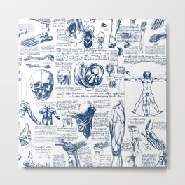 Da Vinci's Anatomy Sketchbook // Dark Blue Metal Print