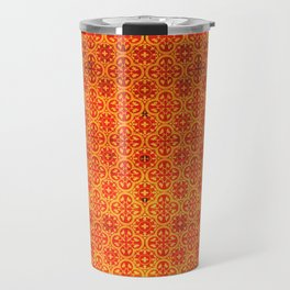 N67 - Yellow & Red Vintage Antique Geometric Traditional Moroccan Style. Travel Mug