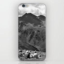zwölferkopf hiking break view alps serfaus fiss ladis tyrol austria europe black white iPhone Skin