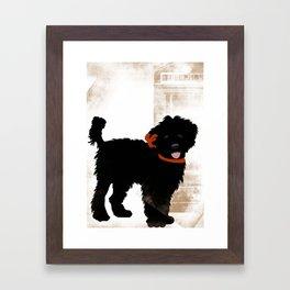 Black Labradoodle dog Framed Art Print
