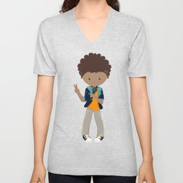 African American Boy, Rock Boy, Singer In A Band Unisex V-Neck