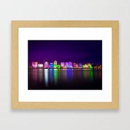 Willemstad, Curaçao (Curacao) at Night Framed Art Print