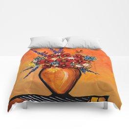 Flowers On Table Comforters