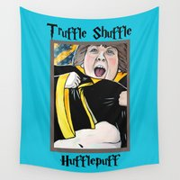 hufflepuff Wall Tapestries featuring Truffle Shuffle Hufflepuff by Portraits on the Periphery
