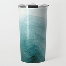 Sunrise in the mountains, dawn, teal, abstract watercolor Travel Mug