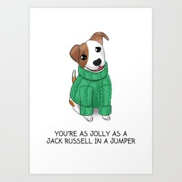 Jolly Jack Russell in a Jumper Art Print