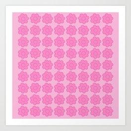 Beauty Powder Puff Pink - Light on Medium Stitched Flowers Art Print