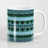 pirates Mugs featuring Geometric Pirates by Alice Gosling