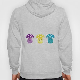 funny cute mushroom watercolor painting Hoody