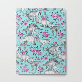 Dinosaurs and Roses - turquoise blue Metal Print