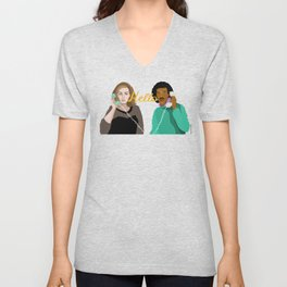Two People Saying Hello - By Cup of Sarcasm Unisex V-Neck
