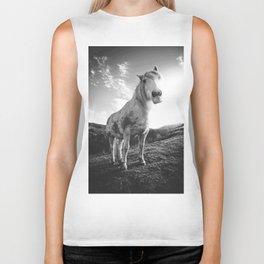 Horse (Black and White) Biker Tank