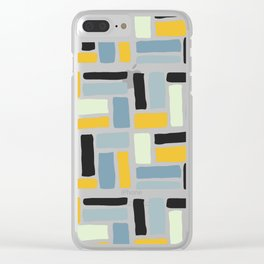 Abstract yellow black geometric modern brushstrokes  pattern Clear iPhone Case