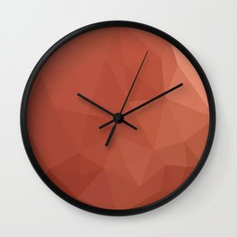 Burnt Sienna Orange Abstract Low Polygon Background Wall Clock