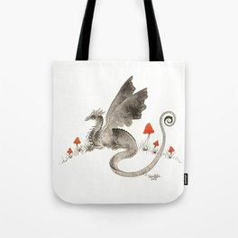 Dragon with Mushrooms Tote Bag
