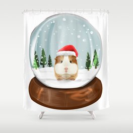 Guinea Pigs Snow Globe Kawaii Christmas Gift Idea Shower Curtain