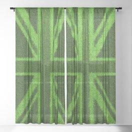 Grass Britain / 3D render of British flag grown from grass Sheer Curtain