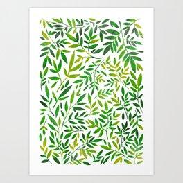Green leaf botanical pattern Art Print