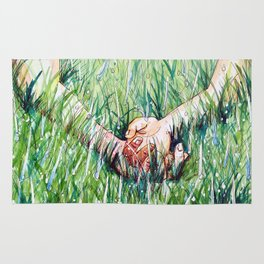 holding hands in the rain Rug