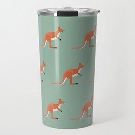 Kangaroos on green Travel Mug