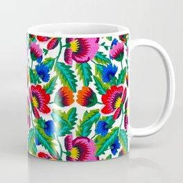 Grandmommy Flowering Bouquet - Poppy Centaurea Violet - Green Leaves Blossom Satin Stitch Embroidery Coffee Mug