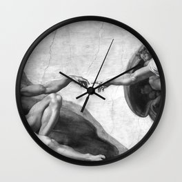 Black and White Creation of Adam Painting by Michelangelo Sistine Chapel Wall Clock