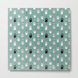 Seamless vector pattern with sheep and flowers Metal Print